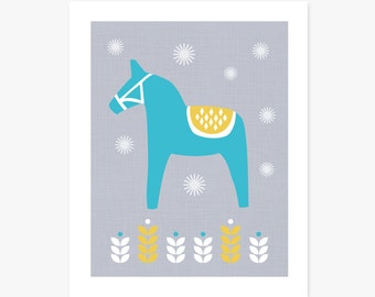 Art Print | Scandi Dala Horse | Scandinavian Inspired Home Decor | Nursery Art | Horse Art