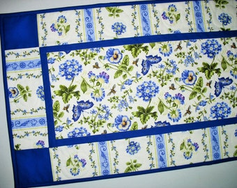 Spring Table Runner, colorful, floral, butterflies, fabric from Northcott, Botanical Blues line