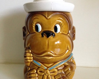 Ceramic Monkey Cookie Jar with Sailor Cap