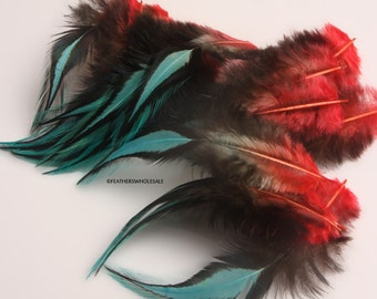 Red Blue Craft Feathers Wholesale Poppy Aqua Blue Laced Rooster Feathers Bird Jewelry Earring Feather Red Blue Feather Fly Tying Hackle, 12