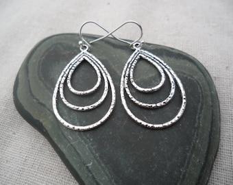 Silver Teardrop Earrings - Simple Everyday Silver Earrings - Fan Peacock Earrings