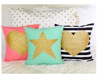 Colored Decorative Throw Pillow Cover - Gold or Silver Glitter Heart or Star - 7 color options