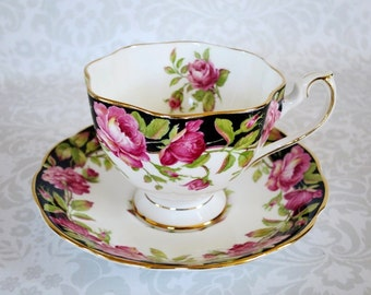Vintage Pink Rose Tea Cup and Saucer, Vintage Tea Cup & Saucer Pink and Black Roses, Vintage Queen Anne Teacup Set  SwirlingOrange11