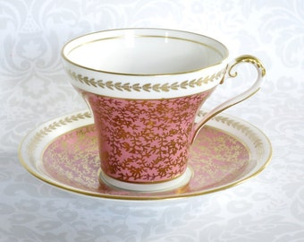 Vintage Pink Chintz Tea Cup and Saucer   /  Teacup and Saucer Pink w Gold Chintz  / Aynsley England  Corset Shape Cup
