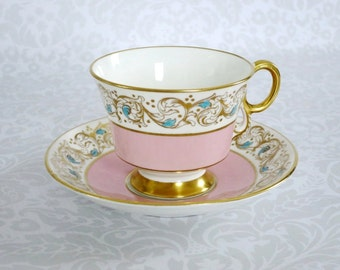 Vintage Pink Tea Cup and Saucer, Pink and Gold Vintage Teacup and Saucer, Pink Cups and Saucer, Gift Ideas For Mom, Grandma, Collector, Her