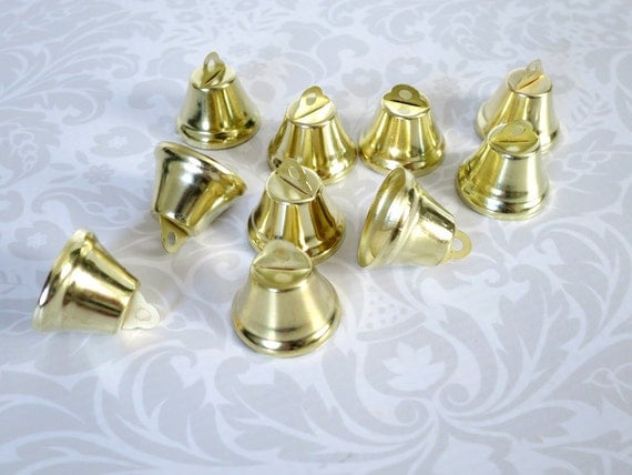 gold tone bells for crafts or decor 10 one inch brass bells