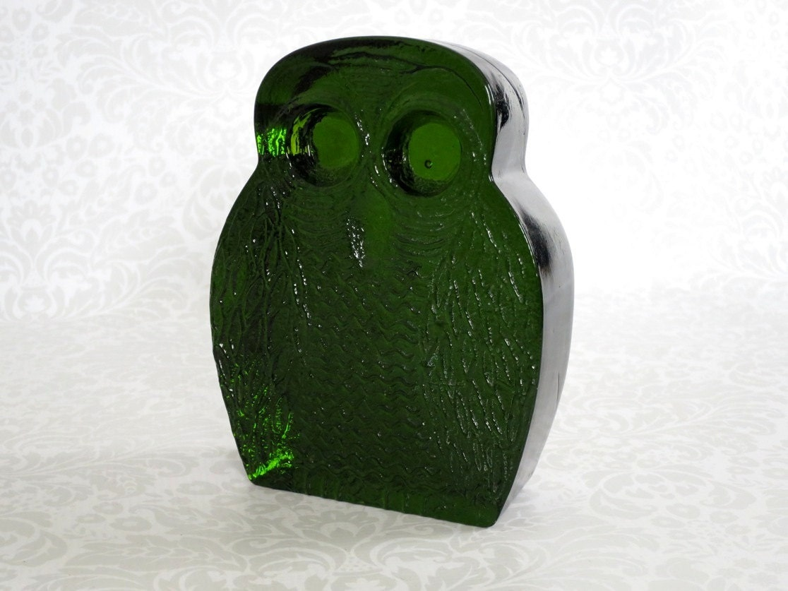 Blenko Glass Owl Bookend Green / Mid Century by ...