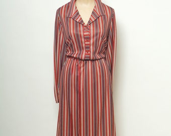 Vintage 80s Dress / 80s stripe dress / 70s Mad Men Secretary / Striped Button Up Vintage Shirt Dress / Retro Dress