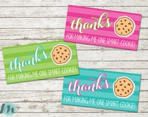 Teacher Bag Toppers, Teacher Appreciation Week, One Smart Cookie, Thank You, Bag Tags, Cookie Bag Toppers, Printables, Digital Download,