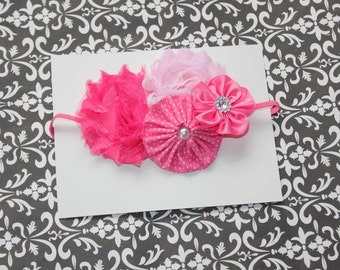Pretty In Pink Fancy Headband   (Newborn, Toddler, Child)  Photo Prop