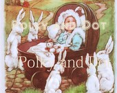 Easter illustration Baby with rabbits bunnies digital download card making scrap booking crafts