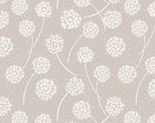White Dandelions on Grey  A59.3 - MAKE A WISH - Lewis and Irene - 1 yard