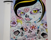Day of the Dead Greeting Card - Lady Calavera - Fantasy Art Card - Sugar Skull Card
