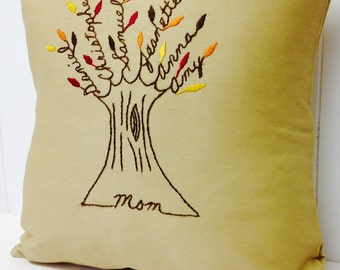 Mother Pillow Cover. Mother's Day gift for mom. Mother-in-law. Personalized Embroidery. Personalized Family Tree. Grandchildren.