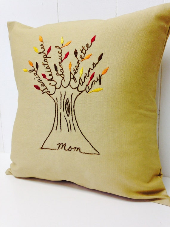 Mother Pillow Cover. Christmas gift for mom. Mother-in-law. Personalized Embroidery. Personalized Family Tree. Grandchildren.