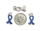 Rhinestone Blue Ribbon Charms Set of 4