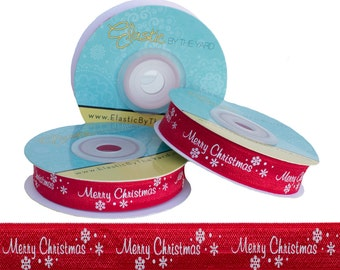 Merry Christmas on Red - Fold Over Elastic - 5 YARDS