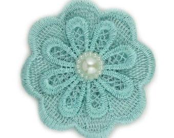 """Aqua Lace Pearl Flower 2.5"""""""