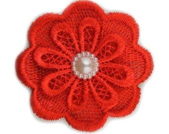 """Red Lace Pearl Flower 2.5"""""""