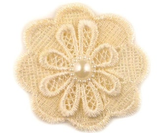 """Ivory Lace Pearl Flower 2.5"""""""