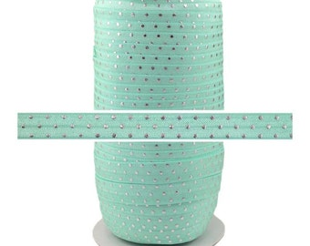 "Aqua Silver Dots - 100 Yard Roll - Fold Over Elastic - 5/8"" Wide Bulk Wholesale FOE"