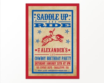 Cowboy Invitation - PRINTED or PRINTABLE Western Cowboy Invitation by 505 Design, Inc
