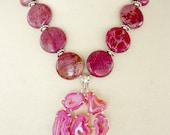Marsala Statement Necklace, Fuschia Drusy Pendant, Big Bold Chunky Agate  Pendant, Wine Red, Hot Pink Variscite, Semiprecious Stone