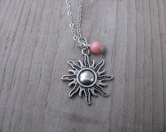 Sunshine Necklace- Antique Silver Sun Pendant with an accent bead in your choice of colors