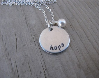 "Hope Necklace- Inspiration Necklace- Hand-Stamped Necklace- ""hope"" with an accent bead in your choice of colors- Hand-Stamped Jewelry"