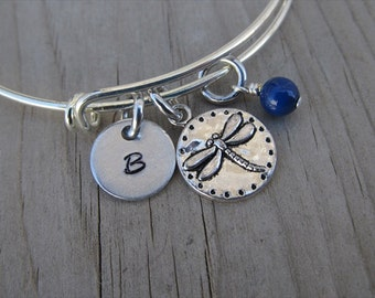Dragonfly Bangle Bracelet- Adjustable Bangle Bracelet with Hand-Stamped Initial, and accent bead of choice
