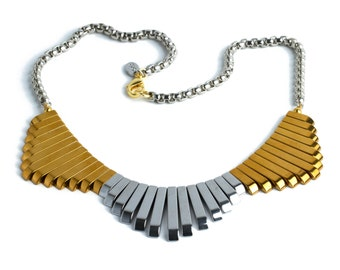Pheonix Necklace-Gold and Silver Statement Necklace, boho necklace