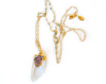 Crystal Point & Druzy Gemstone Necklace-Gold plated druzy on a gold plated crystal quartz,w/hand beaded gemstones on a delicate gold chain