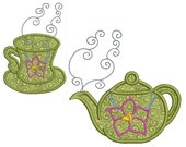 TEA TIME 1 - Machine Applique Embroidery - 2 Patterns in 2 Sizes - Instant Digital Download
