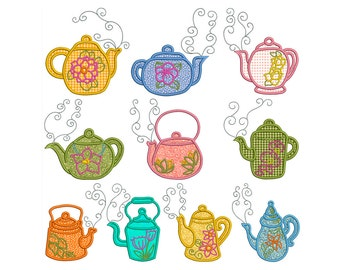 TEA TIME 1 - Machine Applique Embroidery - Instant Digital Download