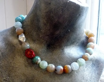 Beaded Agate Necklace, Multicolour Stones Necklace, Breezy Blues Necklace, Statement Stones Necklace, Natural Stones Necklace