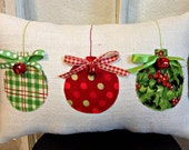Christmas Pillow, Burlap Christmas Pillow, Fabric Christmas Ornaments Pillow, Jingle Bell Christmas Pillow, Holiday Xmas gift