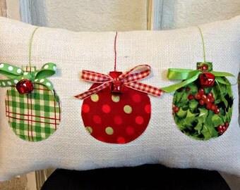 Christmas Pillow, Burlap Christmas Pillow, Christmas Decoration, Christmas Decor, Ornaments Pillow, XMAS Pillow, Christmas Gift, Xmas Gift