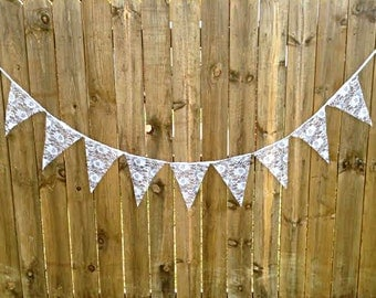 LACE Banner, Lace Wedding Banner, Wedding Banner, Bridal Shower Banner, Lace Bunting, Shabby Lace Banner, Lace Decoration, Wedding Decor