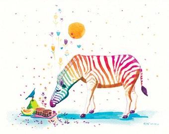 Rainbow Zebra Print - Mid-autumn Fragance - 8x10 Childrens Print, Nursery Decor Art, Cute Wall Art, Animal Art
