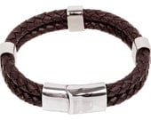 "Mens Leather Bracelet - Brown Double Braided Bolo Leather Bracelet with beads Stainless Steel Magnetic Lock 8"", B0009BRN NEW!"