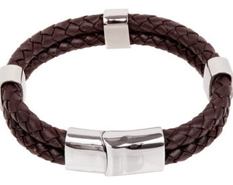 """Mens Leather Bracelet - Brown Double Braided Bolo Leather Bracelet with beads Stainless Steel Magnetic Lock 8"""", B0009BRN NEW!"""