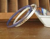 Vintage Enamel Bracelets Boho Jewelry Purple and White Bangles