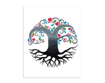 Tree of Life Whimsical Colorful Art Print
