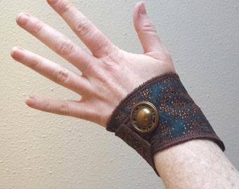 Blue brown circles - Fabric Cuff Bracelet - Modern Style - Festival fashion