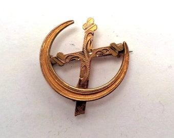Antique Victorian Gold  Filled Crescent Moon Cross Watch Pin Pendant Holder Brooch