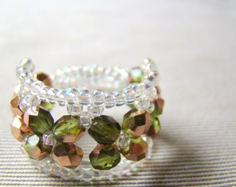 Olive Green Beaded Cocktail Ring  Woven Crystal Ring  Green Glass Bead Ring Seed Bead Ring  Open Weave Bead Ring  Custom