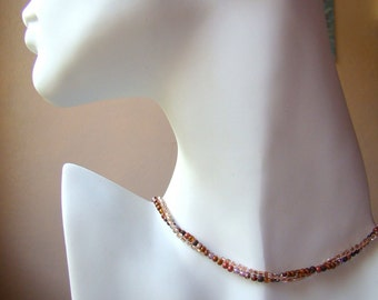 Beadwork Earth Tone Necklace // Modern Simple Necklace // Beadwoven Copper Brown Orange // Seed Bead Short Boho Necklace Bohemian - BJ0045