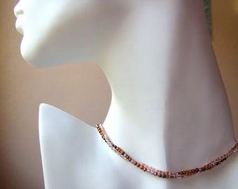 Beadwork Earth Tone Necklace // Modern Simple Necklace // Beadwoven Copper Brown Orange // Seed Bead Short Boho Necklace Bohemian - BJ0045
