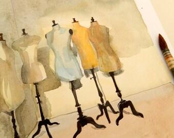 """Original watercolor """"Vintage mannequins"""""""