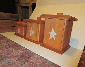 Handmade Wood Canister Set with Primitive Star Display in Maple stain or MTO